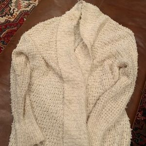 Anthropologie Fuzzy Cream cardigan sweater Large